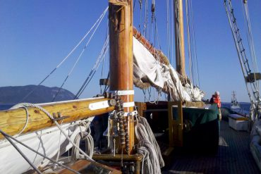 The topmast and mainmast of the schooner Zodiac broke off and crashed into the waters off Lummi Island Saturday. Photo by Dana Raugi
